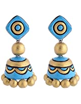 Scorched Earth Scorched Earth Terracotta Hook Jhumkas In Vivid colours SEE8402 Blue Ceramic Jhumki For Women