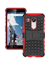 Chevron Tough Hybrid Armor Back Cover Case with Kickstand for LG Nexus 5X (Red)