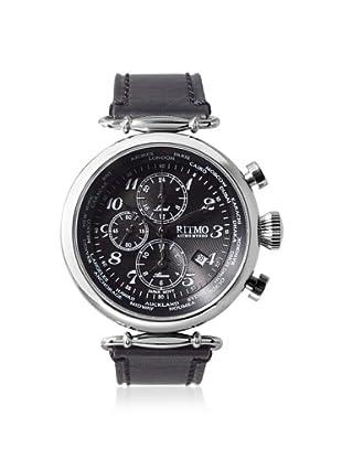 Ritmo Mundo Men's 704/1 SS Black Corinthian World Time Leather Watch