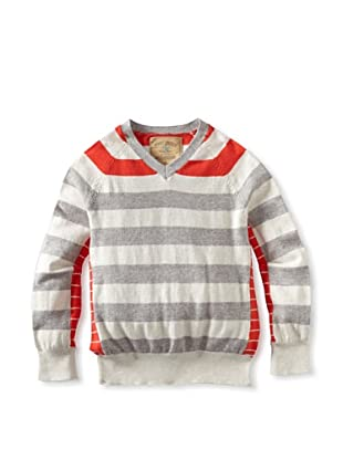 Rose Pistol Boy's Luther Striped V-Neck (Dusty White/Almond/Poppy)