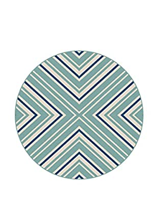 Universal Rugs Garden City Indoor/Outdoor Transitional Rug, Blue, 8' Round