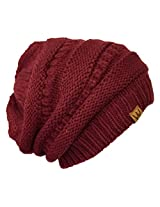 Wrapables Knitted Slouchy Beanie Beret, Maroon, Maroon