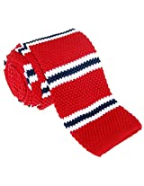 "Retreez Smart Casual Preppy Stripe Men's 2.4"" Skinny Knit Tie - Red and White and Navy Blue"