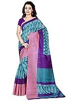 Silk Bazar Women's Tassar Silk Saree with Blouse Piece (Purple & Blue)