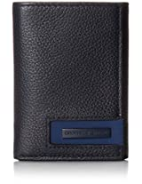 Geoffrey Beene Men's Trifold In Milled Leather with Plaque Logo, Midnight/Marine, One Size