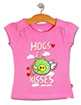 Angry Birds Pink Cotton Half T-shirt (for 7-8 years girls)