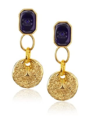 CHANEL Blue Gripoix Dangle Earrings