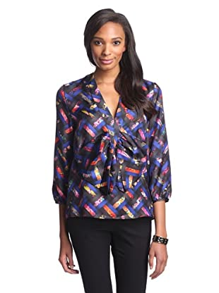 Cynthia Rowley Women's Bow Blouse (Basketweave)