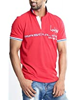 Masculino Latino Casual Red T-shirts Polo for Men MLP101B-L