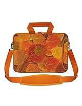 Meffort Inc 15 15.6 inch Orange Color Matching Neoprene Laptop Bag Sleeve with Extra Side Pocket, Soft Carrying Handle & Removable Shoulder Strap - Leaves in Autumn