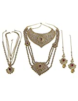 MUCHMORE Beautiful Brass Made Charm Look Full Bridal Necklace Set Wedding Jewelry For Women