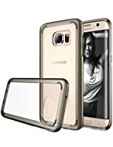 Galaxy S7 Edge case, S7 Edge case, E LV Samsung Galaxy S7 Edge (CRYSTAL CLEAR BACK) Slim (SCRATCH PROOF) Case Cover - (IMPACT RESISTANT BUMPER) Hybrid Protection - Case Cover for Samsung Galaxy S7 Edge- GREY