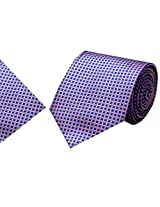 Navaksha Blue Micro Fiber Tie with Pocket Square
