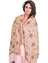 Exotic India Stole from Amritsar with Ari Embroidery All-Over and Sequins - Color Creole PinkColor Free Size