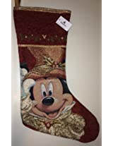 Disney Park Mickey Mouse Tapestry Victorian Christmas Holiday Stocking NEW