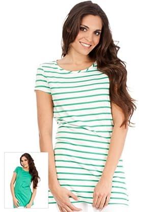 Cortefiel Pack Camisetas Combinada (Verde / Blanco)
