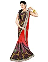 Shree Bahuchar Creation Women's Chiffon Saree(Skb34, Brown and Orange)