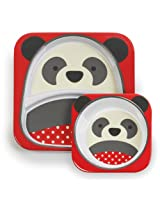 Skip Hop Baby Zoo Little Kid and Toddler Feeding Melamine Divided Plate and Bowl Mealtime Set, Multi Pia Panda