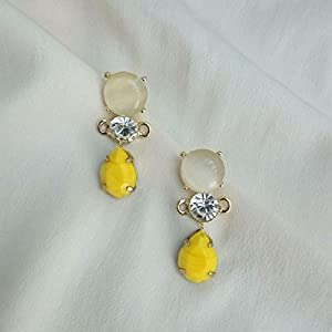 No Strings Attached Yellow Drop Pastel Crystal Drop Earrings