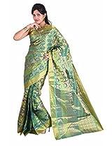 Mimosa Women Kanchipuram Multi Art Silk Saree with Blouse (3013-110-Kp-Rama,  Green)