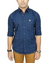 AA' Southbay Men's Dark Blue 100% Cotton Long Sleeve Casual Shirt