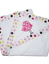 Kadambaby - pink polkas hooded towel