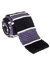 "Retreez Smart Elegant Wide Stripes Men's 2.4"" Skinny Knit Tie - Black and Grey"
