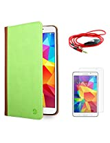 VanGoddy Mary Portfolio Multi Purpose Book Style Slim Flip Cover Case for Samsung Galaxy Tab4 T330/T331 8.0 (Green) + AUX Cable + Matte Screen