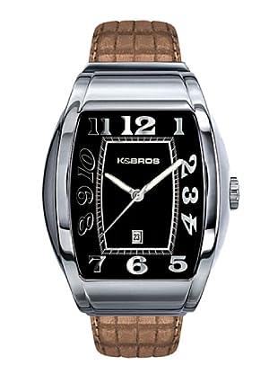K&BROS 9424-1 / Reloj de Caballero  con correa de piel Negro / Beige