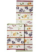 "Avira Home Floral Lines Table Mats & Table Runner Set- 6 Mats (13""x19"") & 1 Runner (13""x39""), Machine Washable"