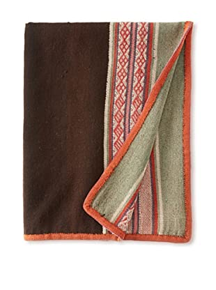 Nomadic Thread Society Peruvian Manta/Throw, Chocolate/Orange/Seafoam