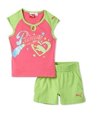 PUMA Girl's 2-6x Jersey Raglan Tee & Short Set (Neon Green)