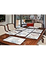 "Avira Home Abstract Table Mats & Table Runner Set- 6 Mats (13""x19"") & 1 Runner (13""x39""), Machine Washable"