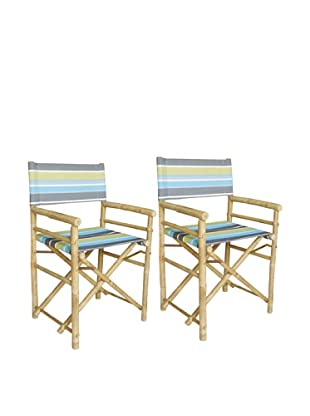 ZEW, Inc. Pair of Outdoor Bamboo Director Chairs with Interchangeable Covers, Green Stripes/White