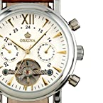 ESS Men's White Tourbillon Design Classic Self-Wind Up Leather Band Automatic Wrist Watch WM307