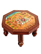 Eye-Catching Brown Wood Table Elephant Hand Painted By Rajrang