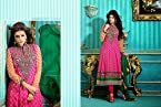 Pink Top Pure Cotton with Cotton Bottom & Chiffon Dupatta with Embroidery & Print Work Unstitched Anarkali Salwar Kameez Suit