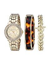 Anne Klein Women's AK/1462TOST Swarovski Crystal Accented Gold-Tone Dress Watch and Bracelet Set