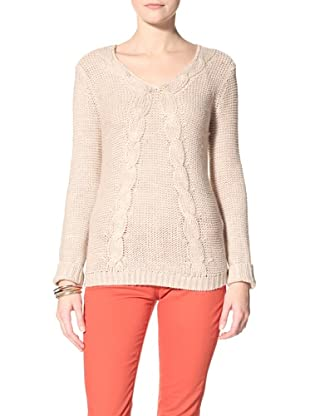 Acrobat Women's Cable V-Neck Sweater (Stone)