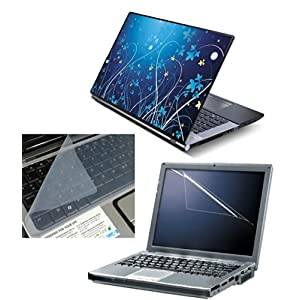 """FineArts 3 in 1 Laptop Skin Pack 15.6"""" - Abstract Blue With Screen and Keyboard Protector"""