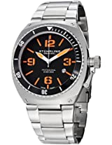 Stuhrling Original Men's 410.331157 Aquadiver Regatta DSV Swiss Quartz Diver Date Orange Accent Stainless Steel Bracelet Watch