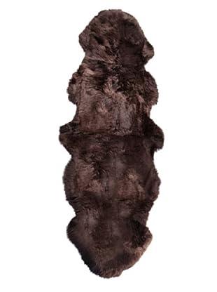 Natural Brand New Zealand Sheepskin Double Rug, Chocolate, 2' x 6' Runner