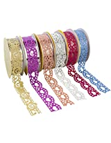 Colourful Decorative Adhesive Glitter Lace Tape, Length 1m Each, Set of 6 (Assorted Colors)