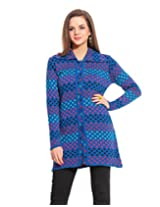 Women's Woollen Sweater/Cardigan Made from Pure Wool- (Royal L)