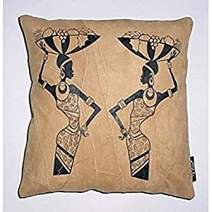 Kitschdii Leather African 2 Fruit Ladies Cushion Cover
