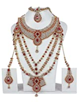 Muchmore Beautiful Red Brass Made Bridal Necklace Set For Women