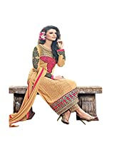 ENAMOURING yellow coloured straight cut georgette SUIT