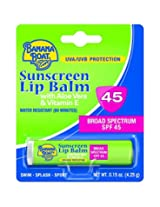 Banana Boat Sunscreen Aloe Vera with Vitamin E Broad Spectrum Sun Care Sunscreen Lip Balm - SPF 45, 0.15 Ounce (Pack of 24)