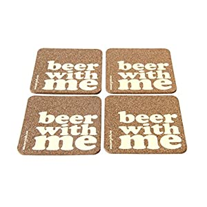 Verry India Beer with me - Set of 4 coasters ( Cork )