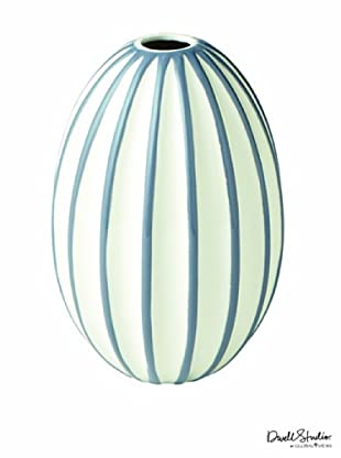 Dwell Studio by Global Views Ribbed Egg Vase, White/Grey